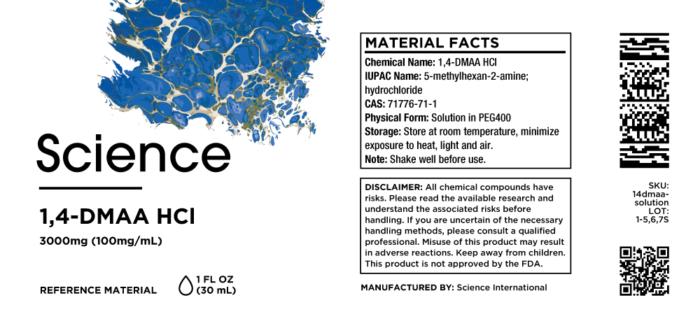 1,4-DMAA HCl – Solution, 3000mg (100mg/mL)