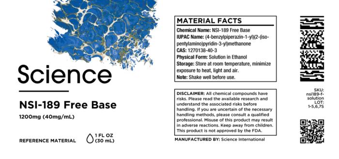 NSI-189 Free Base – Solution, 1200mg (40mg/mL)