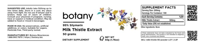 Milk Thistle Extract | 95% Silymarin – Powder, 50g