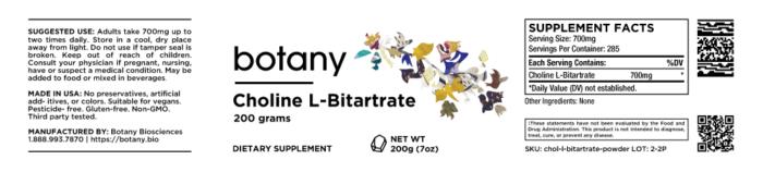 Choline L-Bitartrate – Powder, 200g