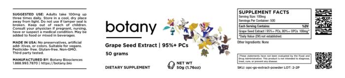 Grape Seed Extract | 95%+ PCs, 80%+ OPCs – Powder, 50g