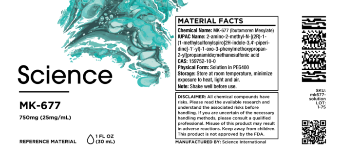 MK-677 (Ibutamoren Mesylate) – Solution, 750mg (25mg/mL)