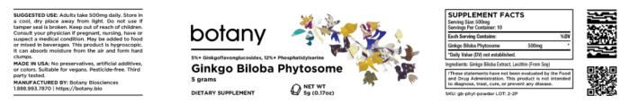 Ginkgo Biloba Phytosome | 5%+ GFGs, 12%+ PS – Powder, 5g