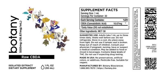 Raw CBDA (Cannabidiolic Acid) – Oil, 500mg (16.67mg/mL)