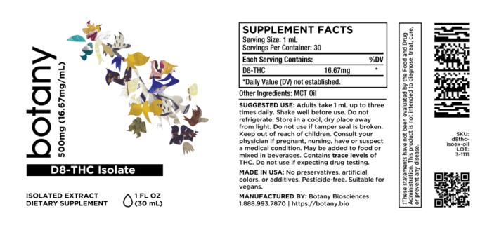 D8-THC (Delta-8-Tetrahydrocannabinol) – Oil, 500mg (16.67mg/mL)