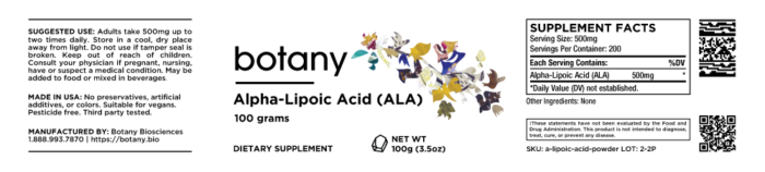 Alpha-Lipoic Acid (ALA) – Powder, 100g