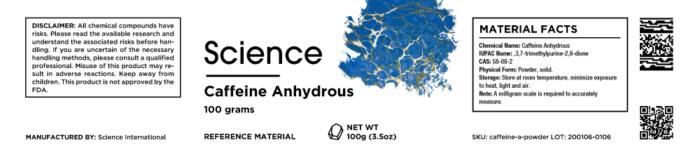 Caffeine Anhydrous – Powder, 100g