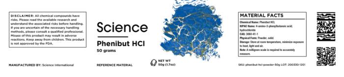 Phenibut HCL – Powder, 50g