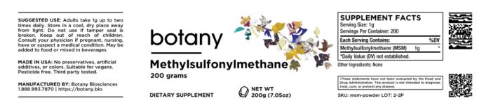 Methylsulfonylmethane (MSM) – Powder, 200g