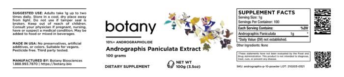 Green Chiretta (Andrographis Paniculata)   10%+ Andrographolide – Powder, 100g