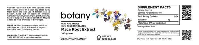 Maca Root Extract   0.2% Macamides, 0.2% Glucosinolates – Powder, 100g