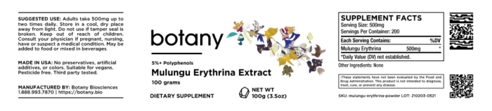 Mulungu Erythrina Extract   5%+ Polyphenols – Powder, 100g