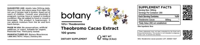 Theobromo Cacao Extract | 10%+ Theobromine – Powder, 100g