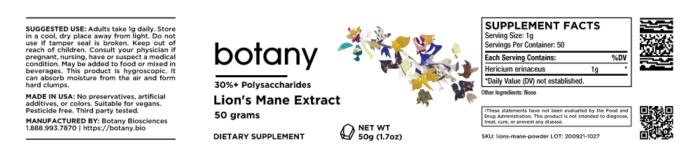 Lion's Mane (Hericium Erinaceus)   30%+ Polysaccharides – Powder, 50g