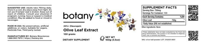 Olive Leaf (Olea Europea) | 20%+ Oleuropein – Powder, 100g
