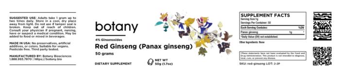 Red Ginseng (Panax ginseng)   ≤4% Ginsenosides – Powder, 50g