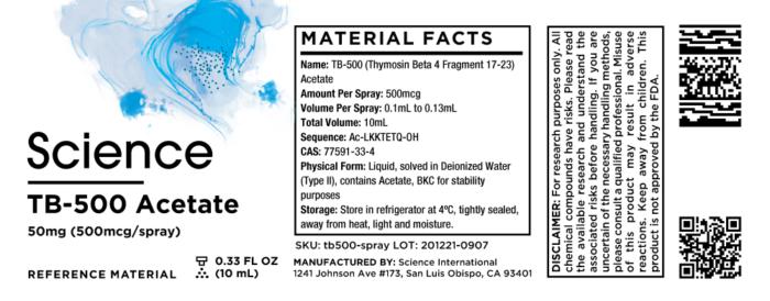 TB-500 (Thymosin Beta 4 Fragment 17-23) Acetate – Spray, 50mg (500mcg/spray)