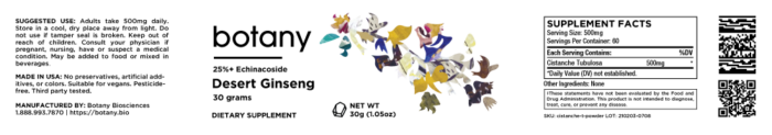 Desert Ginseng (Cistanche Tubulosa) | 25% Echinacoside – Powder, 30g