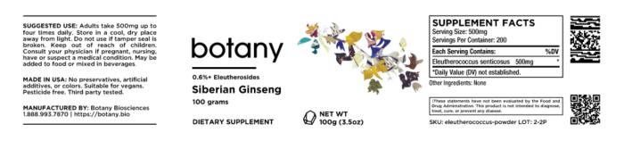 Siberian Ginseng (Eleutherococcus senticosus) | 0.6%+ Eleutherosides – Powder, 100g
